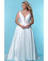 Sydney's Closet Sc5229 Plunging Bodice Mikado Bridal Gown - White