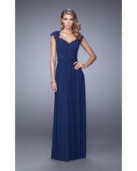 La Femme - 21685 Ruched V Neck Cap Sleeves Sheath Long Gown - Lyst