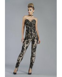 Janique - K6561 Strapless Contrast Brocade Jumpsuit In Black/nude - Lyst
