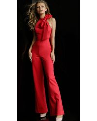 2352433ecb4 Jovani - 63523 Sleeveless High Neck Jumpsuit With Bow Detail - Lyst
