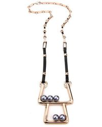 Ben-Amun - Modern Pearl Double Decks Necklace With Leather Strip And Gold Clip - Lyst