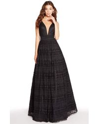Alyce Paris 60137 Plunging Lace Sleeveless Evening Gown - Black