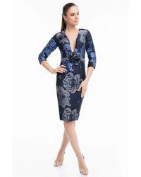 Terani Couture Floral Plunging V-neck Column Short Dress 1821c7020 - Blue