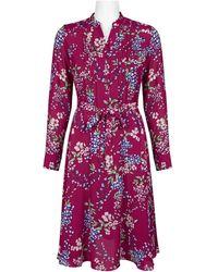 Nanette Lepore Nm9s171y9 Long Sleeve Floral Print Dress - Purple