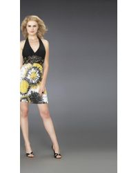 La Femme 14267 Halter Cocktail Dress In Beaded Belt And Printed Skirt - Yellow