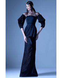Mnm Couture G0956 Applique Illusion Jewel Sheath Dress - Black