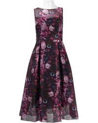 Adrianna Papell Ap1d101885 Printed Jewel Neck Pleated A-line Dress - Purple