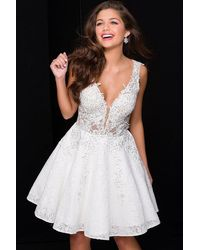 Jovani Jvn45264 Lace V-neck A-line Dress - White
