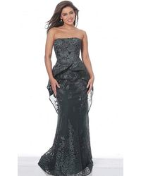 Jovani 02222 Strapless Ruffled Peplum Sheath Gown - Multicolor