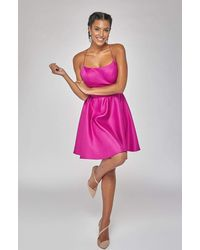 Terani Couture 1921h0324 Strappy Open Back Satin Cocktail Dress - Pink