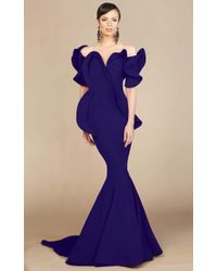 Mnm Couture 2328 Peplum Off-shoulder Mermaid Evening Gown - Blue