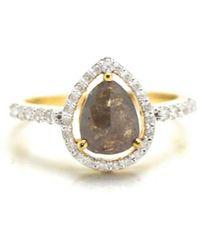 Trésor - Organic Color Diamond With Round Brilliant Diamond Framed Ring In K Yg - Lyst