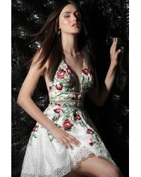 Jovani - 61649 Floral Embroidered Plunging V-neck Cocktail Dress - Lyst
