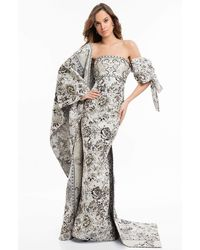 Terani Couture 1821e7143 Two Toned Gown With Bow And Shawl - Multicolor