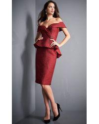 Jovani 04157 Off Shoulder Peplum Knee-length Sheath Dress - Red