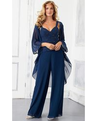 Mori Lee 72303 3 Piece Set Beaded Chiffon Pant Suit - Blue