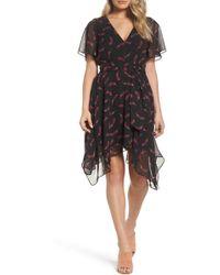 Sam Edelman 61f010 Feather Print Handkerchief Hem Dress - Black