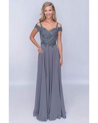 Nina Canacci Embroidered A-line Evening Dress M507 - Gray