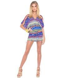 Luli Fama - Beach Cabana V-neck Dress In Multicolor (l) - Lyst