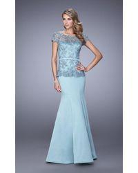 c7a5975ead80 Lyst - La Femme Delectable Black Lace Draped Two-piece Evening Gown ...