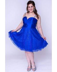 Sydney's Closet Sc8101 Strapless Embellished Tulle A-line Dress - Blue