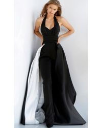 9f1c591c4db Jovani - 59237 Plunging Halter Jumpsuit With Overskirt - Lyst