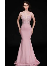 Nina Canacci 3154 Embroidered Lace V-neck Trumpet Dress - Purple
