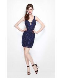 Primavera Couture - V-neck Sequined Cocktail Dress - Lyst