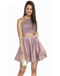 Alyce Paris 3825 Two-piece Beaded Lace Top Satin Cocktail Dress - Pink