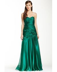 THEIA 881527 Strapless Rosette Detail Pleated Organza Gown - Green