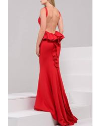Jovani - Fitted Backless Jersey Mermaid Dress With Ruffled Bustle Jvn - Lyst