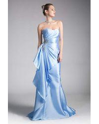 Cinderella Divine Strapless Side Embellished Mermaid Evening Gown - Blue