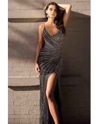 Primavera Couture 3403 Beaded V Neck High Slit Fitted Prom Dress - Black