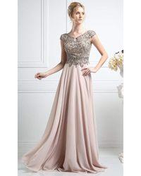 Cinderella Divine Cr721 Beaded V-neck A-line Dress - Pink