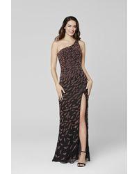 Primavera Couture 3434 Embellished One Shoulder Fitted Dress - Black