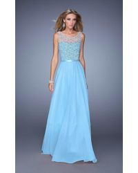 La Femme - Gigi - 21322 Beaded Illusion Scoop Chiffon Dress - Lyst
