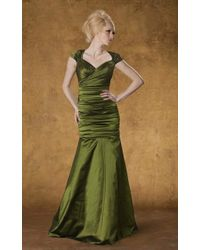 THEIA 881838 Ruched Sweetheart Mermaid Gown - Green