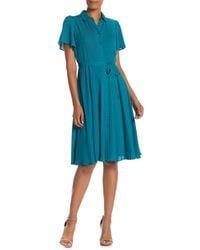 Nanette Lepore Nm9k136x4 Short Sleeve Collared A-line Dress - Blue