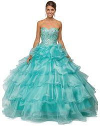 Dancing Queen 8751 Strapless Bejeweled Quinceanera Ballgown - Blue