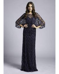Lara Dresses 33434 Sequined Illusion Bateau Dolman Sleeve Dress - Blue