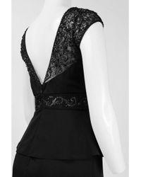 Sue Wong N5334 Cap Sleeve Adorned Illusion Peplum Dress - Black