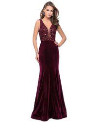 f424f73c La Femme 27126 Asymmetrical Neckline Strappy Jersey Evening Dress in Black  - Lyst
