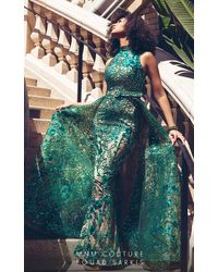 Mnm Couture 2416 Sleeveless Sequin Ornate Overlay Train Evening Gown - Blue