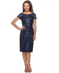 La Femme Lace Bateau Knee Length Sheath Dress 27828sc - Blue