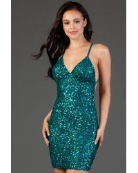 Scala 48782 Fitted String Strapped Sequin Dress In Rouge - Blue
