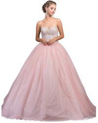 Dancing Queen 1226 Strapless Bejeweled Sweetheart Quinceanera Ballgown - Pink