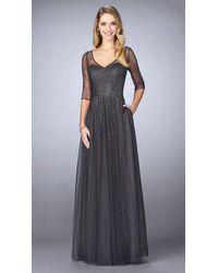 La Femme 24894sc Sheered Sequined Quarter Length Sleeved Evening Gown - Multicolor