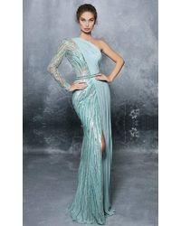 Tarik Ediz 96055 Half Sheer Embellished One-shoulder Sheath Gown - Multicolor