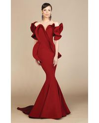 Mnm Couture 2328 Peplum Off-shoulder Mermaid Evening Gown - Red