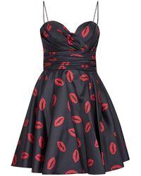 Tarik Ediz Print Sweetheart Dress 50109 - Red